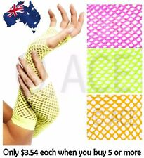 Ladies Neon Fishnet Gloves Long Fingerless Neon Party Dance 70s 80s Womens Glove