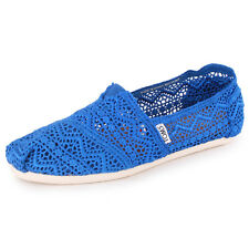 Toms Crochet Classics Womens Textile Espadrilles Cobalt Blue New Shoes All Sizes