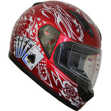 DOT Full Face Motorcycle Helmet(502) 177 Play card Wine Red