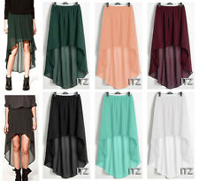 Sexy Women Chiffon Pleated Retro Long Asym Dress Elastic Waist Skirt High Low