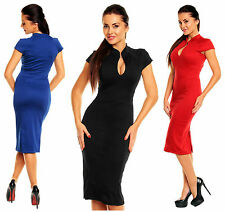 Zeta Ville Women's Stretch Oriental Neck Short Sleeves Pencil Dress 654