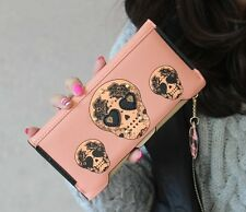 Punk Skull Clutch Checkbook Money Clip Change Bag Women Purse Handbag Wallet
