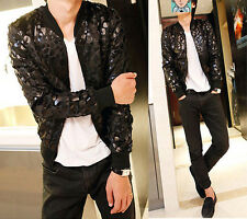 Men's Stylish Stand Collar Cool Bling Sexy Leopard Slim Fit Unique Jacket Coat