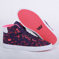 Supra Vaider L Womens Hi Top Trainer Leather Red White Purple Black New Shoes