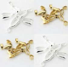 20Pcs 18KGP Mixed ,Silver Gold Plated Pendant Pinch Clip Bail Connector CB-Y201