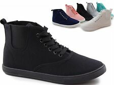 womans flat SHOES SNEAKERS Lace Ups LADIES HIGH HI TOP GIRLS