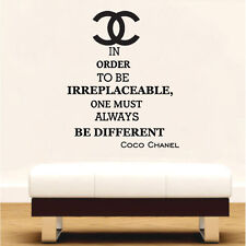 In Order To Be Irreplaceable Chanel Wall Art Quote Vinyl Transfer Decal Sticker