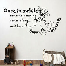 """Tigger"""" Once in awhile"""" Kids Bedroom,Nursery Wall Quote Sticker"""