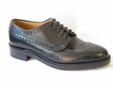 MENS LOAKE BLACK LEATHER FULL BROGUE FORMAL SMART LACE UP SHOES BRAEMAR FIT F