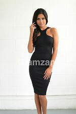 New womens ladies sexy racer back cut out arm midi black celeb bodycon dress