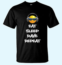 Eat Sleep Rave Repeat Cool Smiley Face With Shades Music Printed Funny T-Shirt.