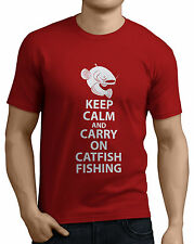 Keep Calm and Carry On Catfish Fishing Funny T-Shirts Rods, Reels, Bait, Line.