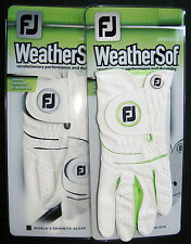 2 Womens FootJoy WeatherSof Golf Gloves. 1 white. 1 with lime trim. Left Hand