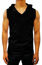 mens fashion PLAIN HOODED TANK TOP singlet colours S - XXL cotton designer gym