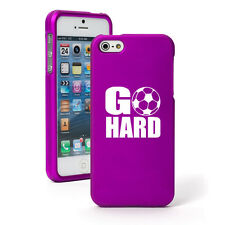 For iPhone 4 4S 5 5S 5c Purple Rubber Hard 2 Piece Case Go Hard Soccer