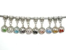 Caged Glass Crystals Silver Large 5.5mm Hole Dangle Charm Bead 1pc -CHOICE