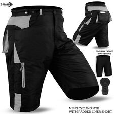 Mens Cycling MTB Shorts Coolmax Padded Cycle Off Road With Liner Shorts Black