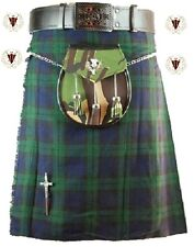 Black Watch Mens Kilt 5 Yard 10oz Scottish Highland Formal & Everyday 30-48