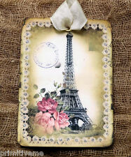 Hang Tags  FRENCH LACE EIFFEL TOWER ROSE TAGS or MAGNET #201  Gift Tags