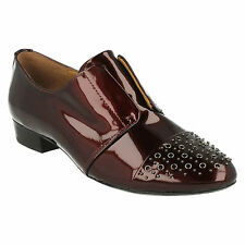 LADIES CLARKS WINE PATENT LEATHER BROGUE SLIP ON SMART SHOES BODKIN BEACH FIT D