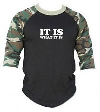 """New Printed """"IT IS WHAT IS"""" FUNNY 3/4 Sleeve BaseBall T-Shirts Raglan Jersey Tee"""