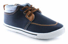 New Chatterbox Boys Lace Up Navy Denim Shoes Boots Vince Size 6 7 8 9 10 11 12