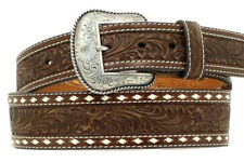 Nocona Western Belt Mens Leather Tooled Tapered Mocha N2497802