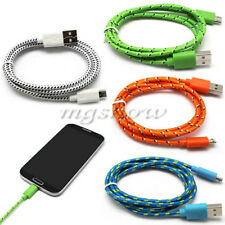 1/2/3M Woven Braided Fabric Micro USB Data Sync Cable Charger For Mobile Phone