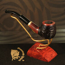 "Mr.Brog HAND MADE SMOKING PIPE PEAR no.17 Carved Brown  ""City""   Made by Artisan"