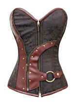 sexy Brown Zip Up Brocade Steampunk overbust women Corset Bustier Top LC5313