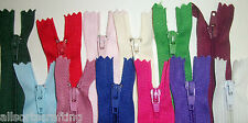 """12"""" long Closed End Nylon Autolock Zips Choice of Colours & Number of Zips"""