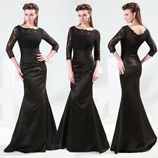 Vintage Black Lace Evening Formal Party Prom Dresses Rockabilly Maxi Long Dress
