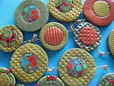 Bubble Necklace circle Olive handcrafted pendants Polymer clay choose one