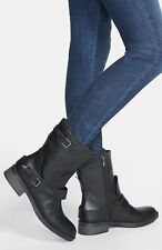 ENZO ANGIOLINI NINE WEST SAHARIA BIKER BUCKLE FASHION LEATHER BOOTS IN BLACK