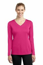 NEW Sport-Tek Ladies Long Sleeve Dri-Fit V-Neck T-Shirt XS-4XL GYM YOGA LST353LS