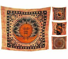 ॐ INDIAN WALL HANGING throw tapestry bedspread quilt large hippy orange sun yin