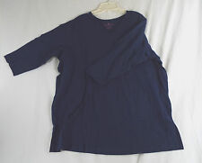 Women's Plus Size V Neck T Shirt 3/4 Sleeves in Navy Blue
