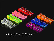 Double Flare Solid Ear Plug & Flesh Tunnel Stretcher Expander Acrylic 2mm - 8mm