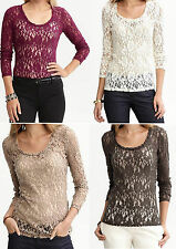 NWT Banana Republic New $49.50 Women Lace Long-sleeved Tee Size PXS, S, PM, M, L