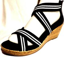NEW Black & white Wedge Strappy Sandals heels Dressy summer shoes  1,2,3,4,5,6