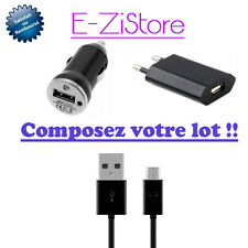 CABLE MICRO USB  CHARGEUR SECTEUR  / VOITURE POUR SAMSUNG GALAXY S4 S3 S2  NOTE