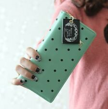 Free Ship Cute Dot Clutch Checkbook Change Coin Bag Women Purse Handbag Wallet