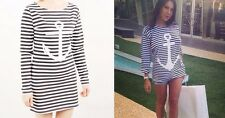 New 2014 Spring Summer Fashion Anchor Print Striped Long T-shirt For Women Lady
