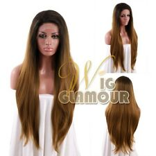 "18""-28"" Long Mixed Brown Straight Lace Front Wig Heat Resistant"