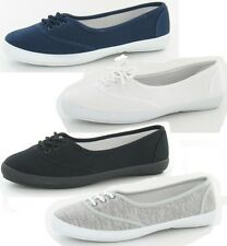 LADIES FLAT CANVAS LACE UP CASUAL SUMMER TRAINER/ PUMPS/ SHOES F8854