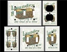 LAUNDRY ROOM BASKET WEATHERED SIGN IMAGE HOME DECOR SWITCH OR OUTLET COVER V577