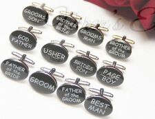 BLACK OVAL mens wedding cufflinks cuff link Groom best man usher page gift CL04