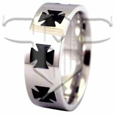 Mens Ring | Stainless Steel Iron Cross Ring Size 10.5 12 13 | Maltese Cross Ring