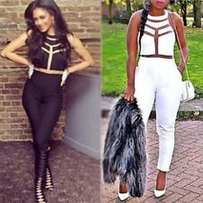 Women Ladies Sexy gauze Outfits Bodycon Jumpsuit Romper Trousers Clubwear SML