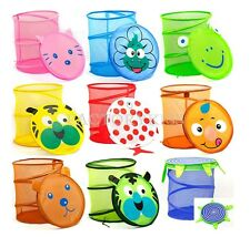 Cute Folding Animal Storage Bucket Laundry Clothes Net Basket Toy Box LJN
